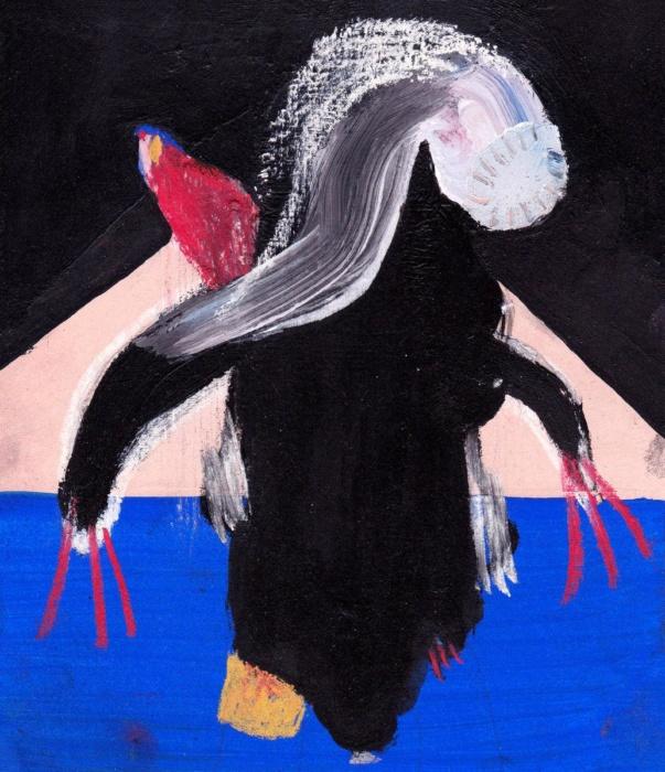 sarahbluemel-malerei-003-Frau mit Papagei